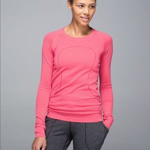 Lululemon Run Swiftly Tech Long Sleeve Pink Stripe